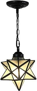 1-Light Modern Pentagram Pendent Lighting for Kitchen Island Moravian Star Hanging Chandeliers Semi-Flush Mount Ceiling Li...