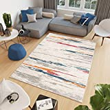 Tapiso Cosmo Alfombra de Salón Comedor Juvenil Diseño Moderno Naranja Azul Crema Gris Abstracto Rayas Suave 120 x 170 cm