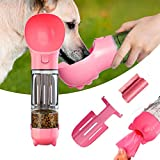 Dog Water Bottle, Puppy Water Dispenser with Drinking Bowl, Lightweight Portable with Stool Shovel Garbage Bag Storage for Pets Outdoor Walking, Hiking, Travel, Food Grade Plastic 13 OZ (Pink)