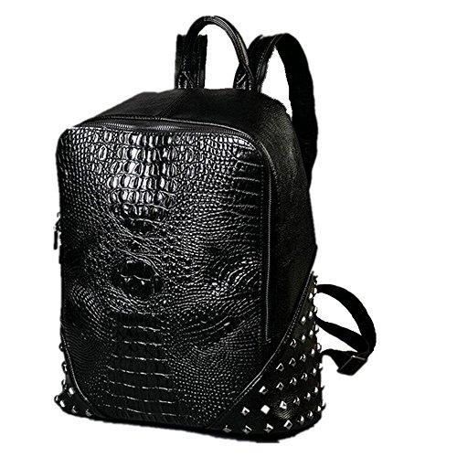 DokinReich Damen Herren Rucksack PU Leder Rucksack Damen Leder Tasche Backpack Schulrucksack mit Mode Nieten Design