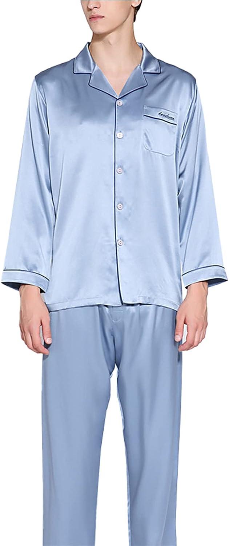 LZJDS 100% Pure Silk Men Long Sleepwear Pyjama Set Mulberry Silk Lightweight Male Pjs Loungewear,Blue,XL