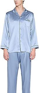 LZJDS 100% Pure Silk Pyjamas for Men Set Long Sleepwear Pyjama Set Mulberry Silk Lightweight Male Pjs Loungewear-for Gifts...