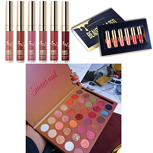 Pro 35 Colors Glitter Eyeshadow Palette & 6 PCS Matte Birthday Edition Durable Liquid Lipstick Beauty Cosmetics Makeup Set