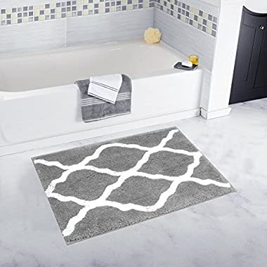 Pauwer Microfiber Bathroom Rugs Geometric, Non Slip Bath Rugs Floor Mat Machine Washable (18×26 , Grey)