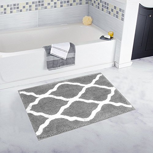 Pauwer Microfibra Baño Alfombra, Alfombra de baño Antideslizante Alfombra Lavable a máquina, Gris, 45×65cm