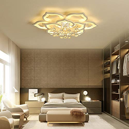 MGWA Lámpara de techo posmoderna para sala de estar, dormitorio, pétalo de cristal, lámpara de techo LED de intensidad regulable creativa para el hoga...