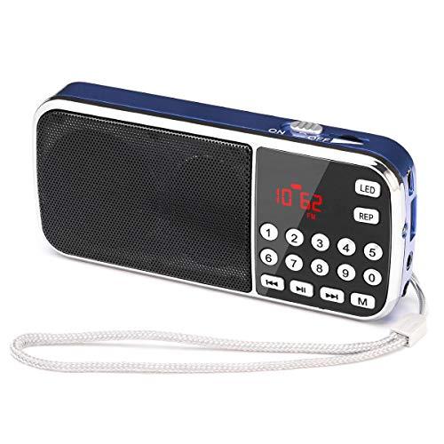 Radio FM portátil pequeña, Radio Digital portátil Mini Radio de Bolsillo Recargable con Tiempo de reproducción prolongado, Disco USB con Tarjeta TF Reproductor de MP3, por PRUNUS