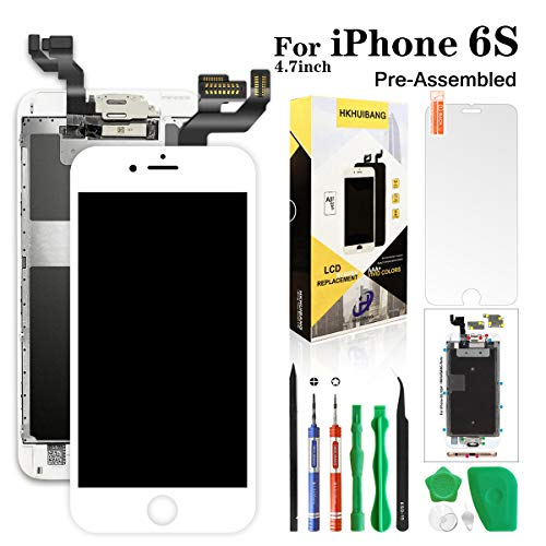 Screen Replacement for iPhone 6S White,Hkhuibang 4.7'' Pre-Assembled LCD Display 3D Touch Screen Digitizer Full Frame Assembly with OEM Front Camera Proximity Sensor Earpiece Speaker+Repair Tool