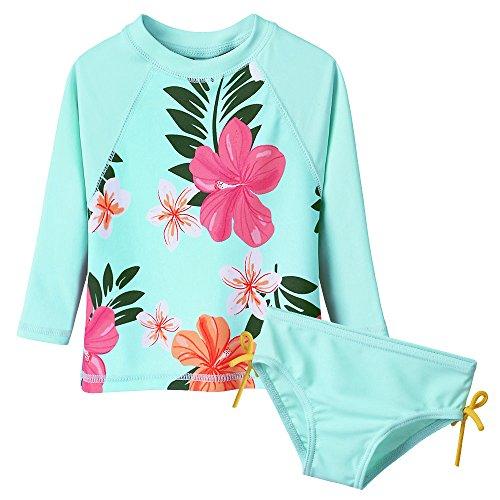 Toddler/Baby Girls Rash Guard Swimsuit Long Sleeve 2 Piece Swim Bottoms Set UPF 50+ 5-6T Cyan
