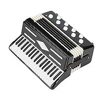 ミニチュアアコーディオンミニ楽器アコーディオン絶妙な楽器ホリデーデコレーション音楽ギフト (Color : Black)