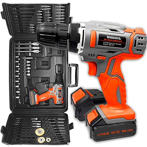 Terratek 89Pc Cordless Drill Driver 2 Batteries -18V/20V-Max Li-Ion Combi Drill in Carry Case, Electric Screwdriver, Accessory Kit, LED Work Light, 2 x Quick Change Battery & 1 x Charger Included
