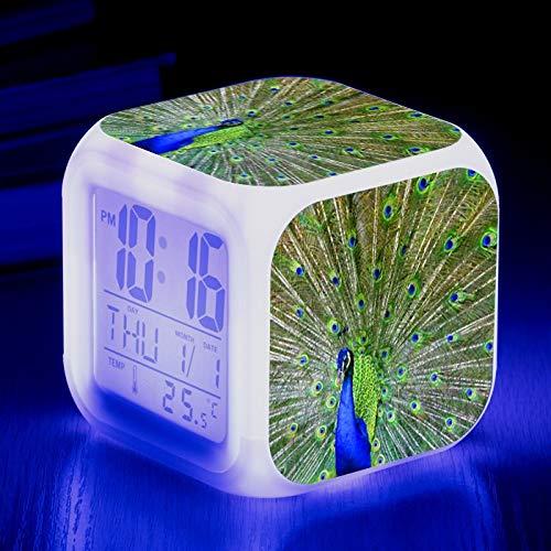Totots Anime Square Reloj de alarma Animal: Pavo real, Colorido Color Color Color Cumpleaños Aves, Reloj despertador Lazy Home, Reloj de alarma pequeño luminoso, Reloj de alarma electrónico silencioso