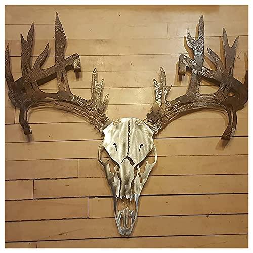 Metal Deer Skull Bow or Shotgun Holder,Wall-Mounted Deer Antler Cutout Design,Used for Hunting Archery Equipment Standing Display (B)