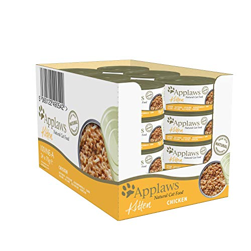 Applaws Natural Kitten Food, Chicken Wet Cat Food In Broth Tin, 70 g (Pack...