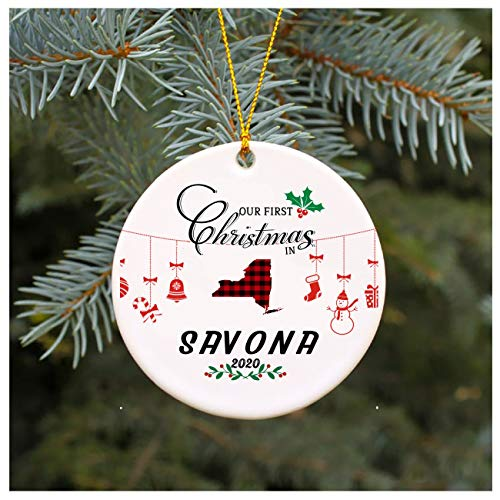 Christmas Tree Ornament 2020 Our First Christmas In Savona New York 1st Christmas In Our New House Rustic Xmas Decorations Gift For Family Present Idea 3' MDF Plastic