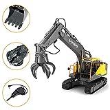 AMITAS 3 en 1 Chargeur de Pelle Fonctionnelle Complète, Pelle à télécommande en métal de Tracteur de Construction Pelleteuse Enfant 61 x 41 x 17cm