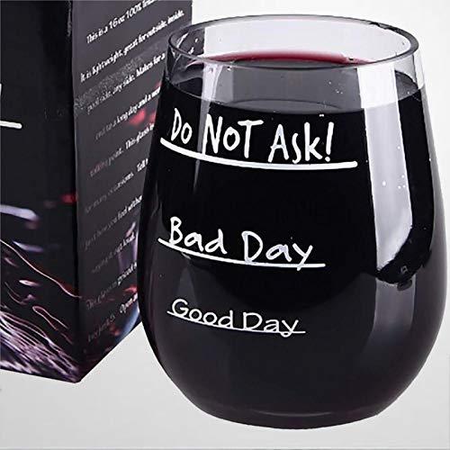 Good Day Bad Day Do Not Ask - Copa de vino irrompible EA y sin BPA, plástico Tritan de 16 onzas, diseño de elefante blanco sin tallo, grabado con láser, vaso de whisky personalizado, 15 onzas