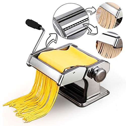 Manual Pasta Makers Home Kitchen Split Noodle Making Machine Adjustable Thickness Stainless Steel Rolling Machine
