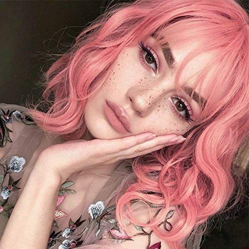 """Short Pink Wig with Bangs for Black White Women Should Length 12"""" Pastel Pink Bob Wavy Wig Synthetic Cosplay Daily Wig(Pastel Pink)"""