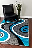 0327 Turquoise White Gray Black 5'2x7'2 Area Rug Abstract Carpet