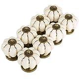 Auped - Set di 8 pomelli in ceramica a forma di zucca, stile vintage, colore: avorio