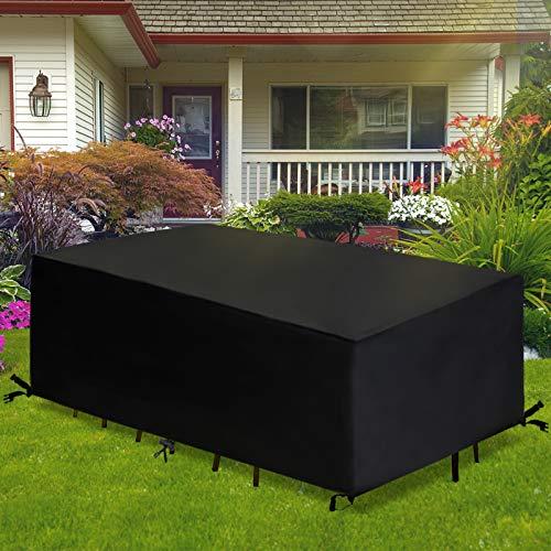 GEMITTO Fundas para Muebles Impermeable y Resistente UV Funda para Mesa y Silla de Jardín Funda de Tejido Oxford 420D 242 x 162 x 100cm