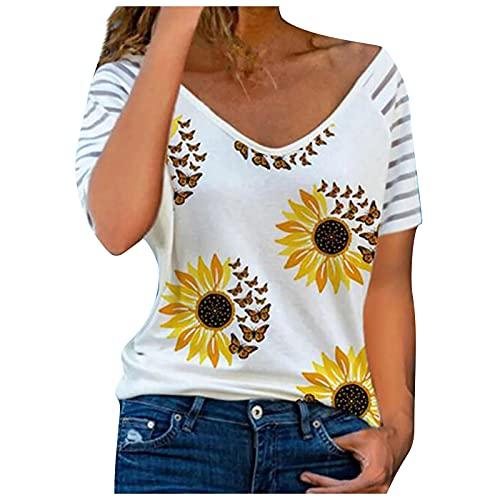XOXSION Camiseta de verano para mujer, parte superior de rayas, estampado de flores, cuello en V, manga corta, estilo primavera D blanco. XL