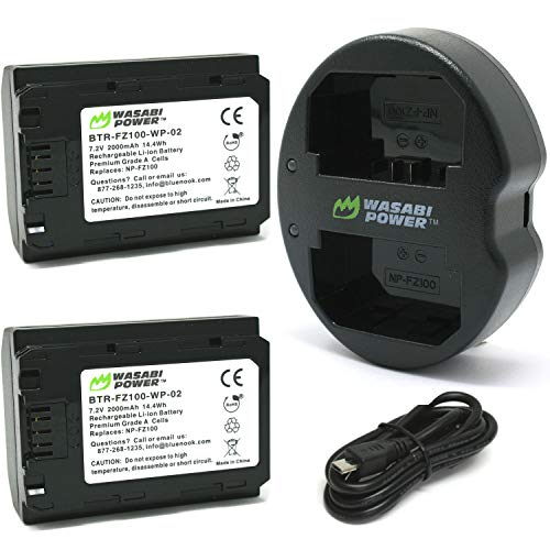 Wasabi Power Battery (2-Pack) and Dual USB Charger for Sony NP-FZ100, BC-QZ1 and Sony FX3, a1, a9, a9 II, a7C, a7R III, a7R IV, a7S III, a7 III, a7 IV, a6600 (KIT-BB-FZ100-02)
