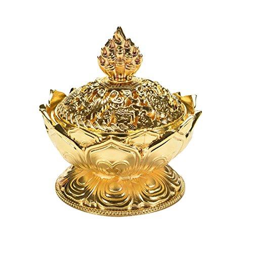 Tibetische Lotus entworfen Legierung Bronze Craft Räuchergefäss Minihaupt Dekoration Gold