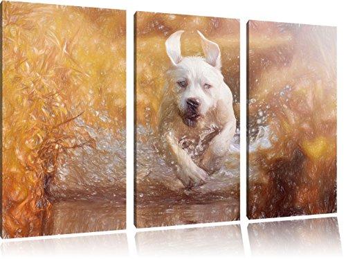 Pixxprint Labrador-Welpe Wasser als Leinwandbild/Größe: 3 Teilig (120x80 cm) cm/Wandbild/Kunstdruck/fertig bespannt