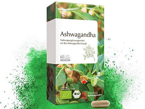 51IKyXPbJbL - MEDICOM BIO Ashwagandha 60 Kapseln • Bio zertifiziert • 1000 mg Schlafbeere Extrakt Pulver pro Tagesdosis • mind. 5 % Withanoliden • 1-Monatsvorrat