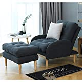 oneinmil Fabric Recliner Chair Adjustable Home Theater Seating Single Recliner Sofa with Ottoman Modern Living Room Recliners (Dark Grey)