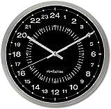 FISHTEC Orologio da Parete Design Moderno 24 Ore - Ultra preciso Lettura Facile : Quadrante dei Minuti - Adatto per Cucina, Ufficio, Salotto, Camera - 30 cm - Grigio e Nero