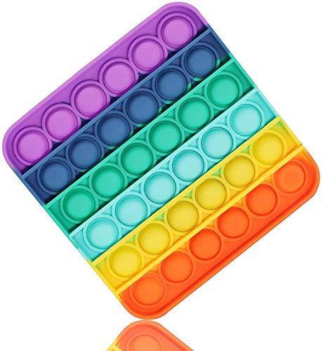 Black Duck Brand Multi-Color Rainbow, Glow in The Dark, & Glitter Pop Fidget it Toy Pop Bubble it Sensory Fidget Toy Autism Special Needs Stress Reliever, Squeeze Sensory Toy (Square, Rainbow)