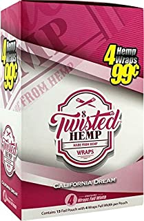 15 pk Twisted Hemp Wrap California Dream 4 leaf per pk