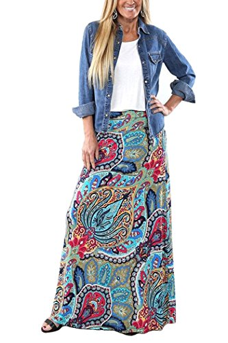 Yinggeli Women's Bohemian Print Long Maxi Skirt (Large, B-Flower)