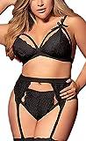 Women Plus Size Lingerie Set with Garter Belt 3 Piece Sexy Strap Bra and Panty Lace Bodysuit Babydoll(Black, 3XL, 688a)