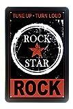 DiiliHiiri Cartel de Chapa Vintage Decoración, Letrero A4 Estilo Antiguo de metálico Retro (Rock Star)