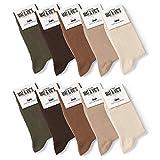 Mat & Vic's Calcetines Clásicos de Vestir para Hombre y Mujer, Algodón, Certificado Oeko-Tex 100, cómodos (10 pares, Earth Colors, UK 6-8.5 / EU 39-42)