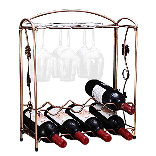 PENGKE Countertop Wine Rack Tabletop Metal Wine Holder Perfect for Home Decor Kitchen Storage Rack Bar Wine Cellar Cabinet Pantry etcHold 8 Wine Bottles and 8 Wine Glasses Bronze