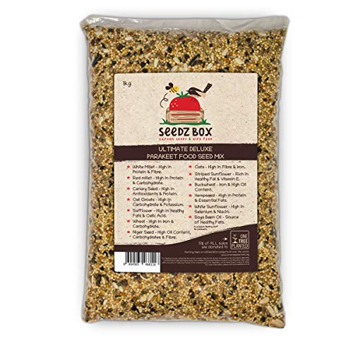 Seedzbox Ultimate Deluxe Parakeet Bird Food Seed & Nut Mix, Specifically For Parakeets, 1kg Bag, 5% of Sales Donated to 1TreePlanted