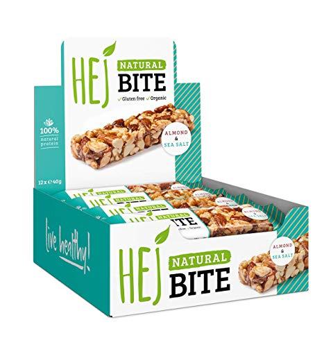 HEJ NATURAL BITE | Almond & Sea Salt - 12 x 40g | Bio Nussriegel ohne Industriezucker | Veganer Powersnack