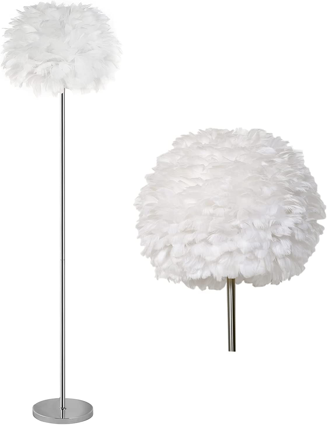 Ranking TOP15 VECELO Feather Floor OFFicial site Lamp with Morden Light Standing 3000k Bulb