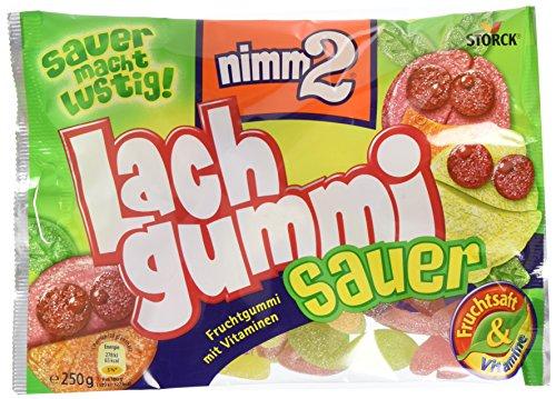 nimm2 Lachgummi sauer – Spaßiges Fruchtgummi mit Vitaminen – 15er Pack (15 x 250g Beutel)