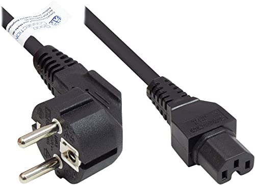 Good Connections P0150-S018 Câble d'alimentation avec Prise Type E+F (CEE 7/7) coudée vers C15 Blanc Chaud 1,8 m