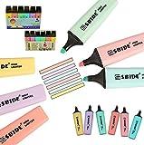 TWORK SSBIDE Highlighter Deskset Marcadores Subrayadores Rotuladores Oficina Escuela Bachillerato Contabilidad Set Estuche de 6 Colores Surtidos, Fluorescente Color Pastel.