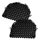 Zento Deals Double Strung Wooden Beaded Ultra Comfort Massaging Seat Cover - 2 – Pack Black Massaging Car Seat Cover for Ultimate Relaxation!