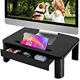 Vplus Compuer Monitor Stand Riser with Drawer - Built with Storage Drawer, 3 Height Adjustable Monitor Riser for Computer, Laptop, Screen, Computer Desktop Organizer with Phone & Tablet Holder