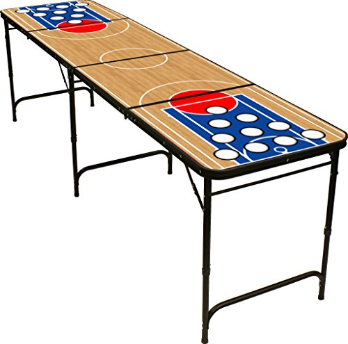 8' Folding Beer Pong Table with Bottle Opener, Ball Rack and 6 Pong Balls - Basketball Design - By Red Cup Pong