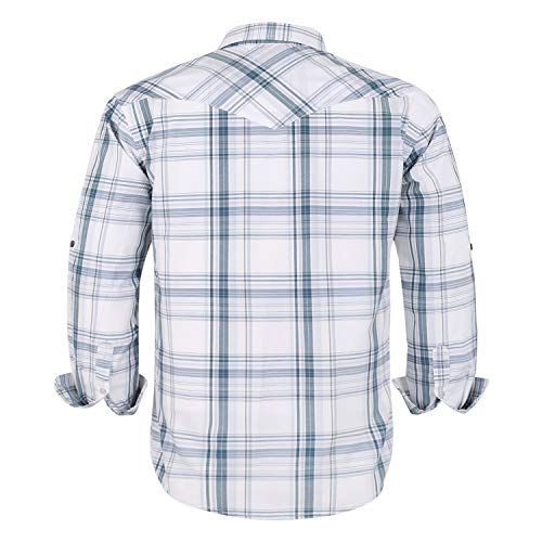 Coevals Club Men's Western Cowboy Long Sleeve Pearl Snap Casual Plaid Work Shirts (White Plaid #28 XL)